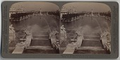 view A water stairway lined with dancing fountains [stereograph] digital asset: A water stairway lined with dancing fountains [stereograph], 1904.