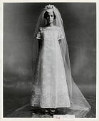 view [Model wearing wedding dress and veil : black-and-white photoprint.] digital asset: [Model wearing wedding dress and veil : black-and-white photoprint.]