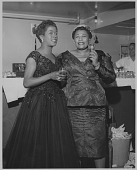 view [Ella Fitzgerald with Sarah Vaughan : photoprint] digital asset: [Ella Fitzgerald with Sarah Vaughan : photoprint, ca. 1950.]