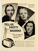view Tell Us, Pretty Maidens... [print advertising] digital asset: Tell Us, Pretty Maidens... [print advertising, ca. 1930s].