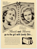 view Hearts and Flowers go to the girl with Lovely Skin.. [Print advertising.] digital asset: Hearts and Flowers go to the girl with Lovely Skin.. [Print advertising.]