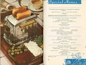 view [Page of Special Menus beside page showing a toaster and relish tray : product cookbook] digital asset: [Page of Special Menus beside page showing a toaster and relish tray : product cookbook].
