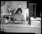view [Woman seated at desk] [cellulose acetate photonegative] digital asset number 1