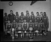 view [Cardozo Basketball Team, 1942] [cellulose acetate photonegative] digital asset: Cardozo Basketball Team, 1942 [cellulose acetate photonegative].
