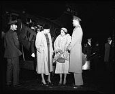 view [Group standing next to Military Air Transport Service (MATS) airplane, ca. 1948 : cellulose acetate photonegative] digital asset: [Group standing next to Military Air Transport Service (MATS) airplane, ca. 1948 : cellulose acetate photonegative].