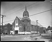 view Church Exteriors for Guild Inc. Aug[ust] 1957 [cellulose acetate photonegative] digital asset: Church Exteriors for Guild Inc. Aug[ust] 1957 [cellulose acetate photonegative].