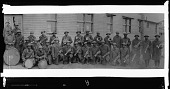 view [Group of soldiers with musical instruments, ca. 1930 : cellulose acetate photonegative, banquet camera format] digital asset: [Group of soldiers with musical instruments, ca. 1930 : cellulose acetate photonegative, banquet camera format].