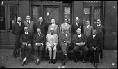 view [Group of men outside Life Insurance Co. building, ca. 1930 : cellulose acetate photonegative, banquet camera format] digital asset: [Group of men outside Life Insurance Co. building, ca. 1930 : cellulose acetate photonegative, banquet camera format].