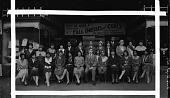 view [Staff posing in front of exterior of The Fair department store, ca. 1930 : cellulose acetate photonegative, banquet camera format] digital asset: [Staff posing in front of exterior of The Fair department store, ca. 1930 : cellulose acetate photonegative, banquet camera format].