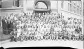 view [Posed group of boys and girls outside an unidentified building : cellulose acetate photonegative, banquet camera format] digital asset: [Posed group of boys and girls outside an unidentified building : cellulose acetate photonegative, banquet camera format].