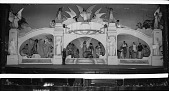 view [Stage with large set of columns and arches with actors in posed scenes : cellulose acetate photonegative, banquet camera format] digital asset: [Stage with large set of columns and arches with actors in posed scenes : cellulose acetate photonegative, banquet camera format].