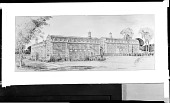 view Perspective from Southeast. Women's Dormitory Group. Howard University. Washington, D.C. Albert Cassell, Architect [copy of drawing] [cellulose acetate photonegative, banquet camera format] digital asset: Perspective from Southeast. Women's Dormitory Group. Howard University. Washington, D.C. Albert Cassell, Architect [copy of drawing] [cellulose acetate photonegative, banquet camera format].