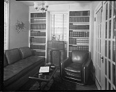 view Mr. John Rhine's Home, 1938 [interior of library : cellulose acetate photonegative] digital asset: Mr. John Rhine's Home, 1938 [interior of library : cellulose acetate photonegative].