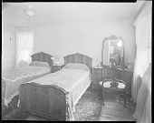 view Mr. John Rhine's Home, 1938 [interior of bedroom : cellulose acetate photonegative] digital asset: Mr. John Rhine's Home, 1938 [interior of bedroom : cellulose acetate photonegative].