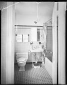 view Mr. John Rhine's Home, 1938 [interior of bathroom : cellulose acetate photonegative] digital asset: Mr. John Rhine's Home, 1938 [interior of bathroom : cellulose acetate photonegative].