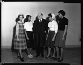 view Pres[ident] Johnson with girl visitors to Citizen Week, Mar[ch] 1960 [cellulose acetate photonegative] digital asset: Pres[ident] Johnson with girl visitors to Citizen Week, Mar[ch] 1960 [cellulose acetate photonegative].