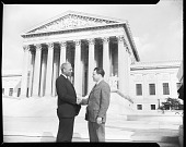 view B. V. Lawson with New Orleans Lawyer at Supreme Court, March 1960 [cellulose acetate photonegative] digital asset: B. V. Lawson with New Orleans Lawyer at Supreme Court, March 1960 [cellulose acetate photonegative].