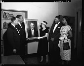 view Presentation of Portrait of Mr. Plato H.U. [Howard University] E + A [Engineering and Architecture] School, May 1960 [cellulose acetate photonegative] digital asset: Presentation of Portrait of Mr. Plato H.U. [Howard University] E + A [Engineering and Architecture] School, May 1960 [cellulose acetate photonegative].