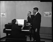 view Avon Stewart, H.U. Music Student, with Dean Lawson and Mrs. Grant, April 1963 [cellulose acetate photonegative] digital asset: Avon Stewart, H.U. Music Student, with Dean Lawson and Mrs. Grant, April 1963 [cellulose acetate photonegative].