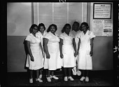 view Cafeteria and Restaurant Workers Union members in Pentagon, March 1964 [cellulose acetate photonegative] digital asset: Cafeteria and Restaurant Workers Union members in Pentagon, March 1964 [cellulose acetate photonegative].