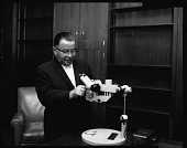 view Microscope presentation to H.U. [Howard University] Med[ical] School, May 1964 [cellulose acetate photonegative] digital asset: Microscope presentation to H.U. [Howard University] Med[ical] School, May 1964 [cellulose acetate photonegative].