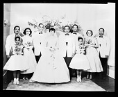view Miss Gloria Smith (Wedding) Deluxe Wedding Album June 24/1956 [from enclosure] [black-and-white cellulose acetate photonegative] digital asset: Miss Gloria Smith (Wedding) Deluxe Wedding Album June 24/1956 [from enclosure] [black-and-white cellulose acetate photonegative].