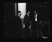 view Howard U. Medical School Banquet (Adam Powell and Honorees Doris and Henry) Adam Powell Speaking March 1956 [from enclosure] [black-and-white cellulose acetate photonegative] digital asset: Howard U. Medical School Banquet (Adam Powell and Honorees Doris and Henry) Adam Powell Speaking March 1956 [from enclosure] [black-and-white cellulose acetate photonegative].