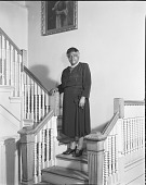 view [Mary McLeod Bethune standing on stairway] [black-and-white photonegative] digital asset: [Mary McLeod Bethune standing on stairway] [black-and-white photonegative, ca. 1930?]