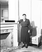 view [Mrs. Mary McLeod Bethune standing near fireplace : acetate film photonegative] digital asset: [Mrs. Mary McLeod Bethune standing near fireplace : acetate film photonegative, ca. 1930s.]