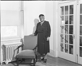 view [Mary McLeod Bethune standing near chair : acetate film photonegative] digital asset: [Mary McLeod Bethune standing near chair : acetate film photonegative, ca. 1930?]