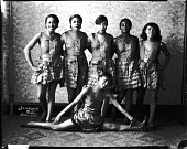 view Effie Moore [with posed group of dancers : acetate film photonegative] digital asset: Effie Moore [with posed group of dancers : acetate film photonegative]: undated