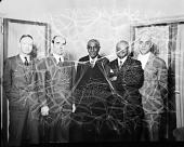 view Dr. [George Washington] Carver at Howard University [group of 5 standing] : [acetate film photonegative] digital asset: Dr. [George Washington] Carver at Howard University [group of 5 standing] : [acetate film photonegative]: undated