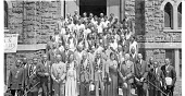 view [Men and women in stoles, standing on church steps,] 69th annual session, District Tabernacle No. 2 G.G.A.O.B.S... [acetate film photonegative,] digital asset: [Men and women in stoles, standing on church steps,] 69th annual session, District Tabernacle No. 2 G.G.A.O.B.S... [acetate film photonegative,] June 1932.