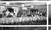 view Garrison School teacher's luncheon [teachers sitting at table : acetate film photonegative,] digital asset: Garrison School teacher's luncheon [teachers sitting at table : acetate film photonegative,] June 1932.