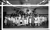 view [Group at school dance or party, standing in gym, basketball goal above : acetate film photonegative.] digital asset: [Group at school dance or party, standing in gym, basketball goal above : acetate film photonegative.]