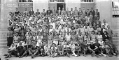 view Graduating class, Francis Junior High School [group on steps in front of school : acetate film photonegative] digital asset: Graduating class, Francis Junior High School [group on steps in front of school : acetate film photonegative], 1936.
