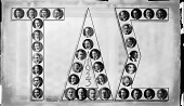 view [Composite photo, Tau Delta Epsilon. Picture is shape of Greek letters. Acetate film photonegative] digital asset: [Composite photo, Tau Delta Epsilon. Picture is shape of Greek letters. Acetate film photonegative, ca. 1923.]