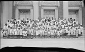 view [Children and adults on steps in front of Garnet Patterson Jr. High School (Vermont Ave. entrance) : acetate film photonegative] digital asset: [Children and adults on steps in front of Garnet Patterson Jr. High School (Vermont Ave. entrance) : acetate film photonegative, 1930.]