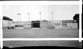 view [View of ballpark, probably Griffith Stadium, outfield with advertisements on wall] [acetate film photonegative from banquet camera] digital asset: [View of ballpark, probably Griffith Stadium, outfield with advertisements on wall] [acetate film photonegative from banquet camera, ca. 1934.]