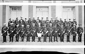 view [Odd Fellows group, men on steps in front of Garnet-Patterson Junior High School : panoramic acetate film photonegative] digital asset: [Odd Fellows group, men on steps in front of Garnet-Patterson Junior High School : panoramic acetate film photonegative, ca. 1934-1935.]