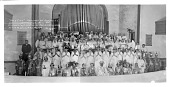 """view """"Holy City"""" Pageant by Asbury M.E. Church... [group in front of large pipe organ : acetate film photonegative] digital asset: """"Holy City"""" Pageant by Asbury M.E. Church... [group in front of large pipe organ : acetate film photonegative], Jan. 20, 1935."""