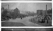 view [Howard University R.O.T.C. on drill field; elevated shot, shows bleachers in front of R.O.T.C. company : panoramic acetate film photonegative,] digital asset: [Howard University R.O.T.C. on drill field; elevated shot, shows bleachers in front of R.O.T.C. company : panoramic acetate film photonegative,] 1931.