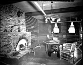 view [Y.M.C.A. sitting room with brick fireplace and weapons : acetate film photonegative,] digital asset: [Y.M.C.A. sitting room with brick fireplace and weapons : acetate film photonegative,] 1933.