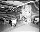 view [Y.M.C.A. sitting room with brick fireplace : acetate film photonegative,] digital asset: [Y.M.C.A. sitting room with brick fireplace : acetate film photonegative,] 1933.