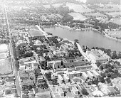 view Aerial view of Howard University [copy negative from a print : acetate film photonegative] digital asset: Aerial view of Howard University [copy negative from a print : acetate film photonegative, ca. 1950s].