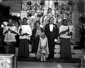 view Mrs. M. J. Dickerson, clergy and group in church : acetate film photonegative digital asset: Mrs. M. J. Dickerson, clergy and group in church : acetate film photonegative, ca. 1935-1937.