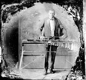 view [Man playing xylophone : nitrate film photonegative.] digital asset: [Man playing xylophone : nitrate film photonegative.]