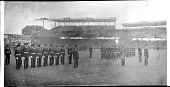 view [Unformed R.O.T.C. members in drill on field] [acetate film photonegative, banquet camera format.] digital asset: [Unformed R.O.T.C. members in drill on field] [acetate film photonegative, banquet camera format.]