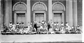 view [Posed group of children in costumes with decorated carts, ca. 1930-1940 : acetate film photonegative, banquet camera format.] digital asset: [Posed group of children in costumes with decorated carts, ca. 1930-1940 : acetate film photonegative, banquet camera format.]