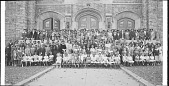 view [Posed group of men, women and children seated and standing in rows in front of an unidentified building, possibly a church : acetate film photonegative, banquet camera format.] digital asset: [Posed group of men, women and children seated and standing in rows in front of an unidentified building, possibly a church : acetate film photonegative, banquet camera format.]